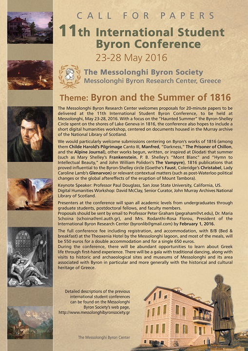 CALL FOR PAPERS – 11th International Student Byron Conference
