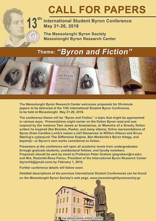 CALL FOR PAPERS – 13th International Student Byron Conference