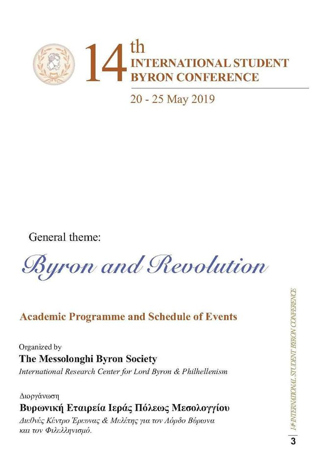 14th International Student Byron Conference 20-25 May 2019. Academic Programme & Schedule of Events
