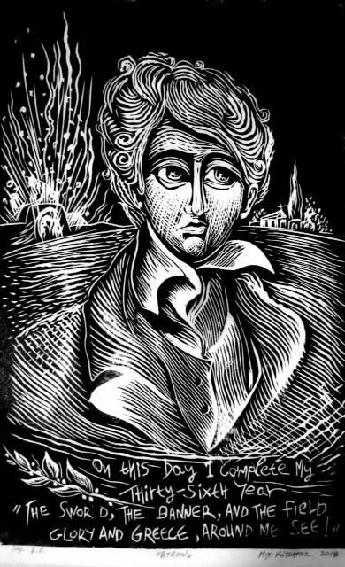 You are currently viewing O χαράκτης Μιχάλης Κότσαρης φιλοτέχνησε ένα εξαιρετικό Χαρακτικό Έργο (Ξυλογραφία) με τον Λόρδο Βύρωνα